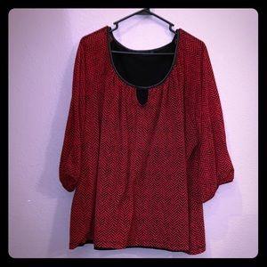 Apt. 9 Red & Black Chevron Pattern Blouse •Size 3X